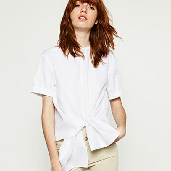 b2e1601cfd12d7 Zara Tops   Nwt Woman White Poplin Tie Front Top M   Poshmark